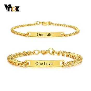 72d32df43aab Vnox tono oro etiqueta de identificación de la pulsera para las mujeres  hombre personalizado grabado nombre cita de amor de acero inoxidable  prometo ...