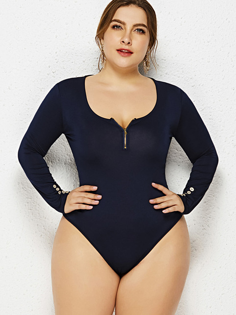 Wipalo Women Plus Size Button Detail Long Sleeve Bodysuit Zip Embellished Skinny Casual Solid Bodysuits Ladies Clothing 6XL