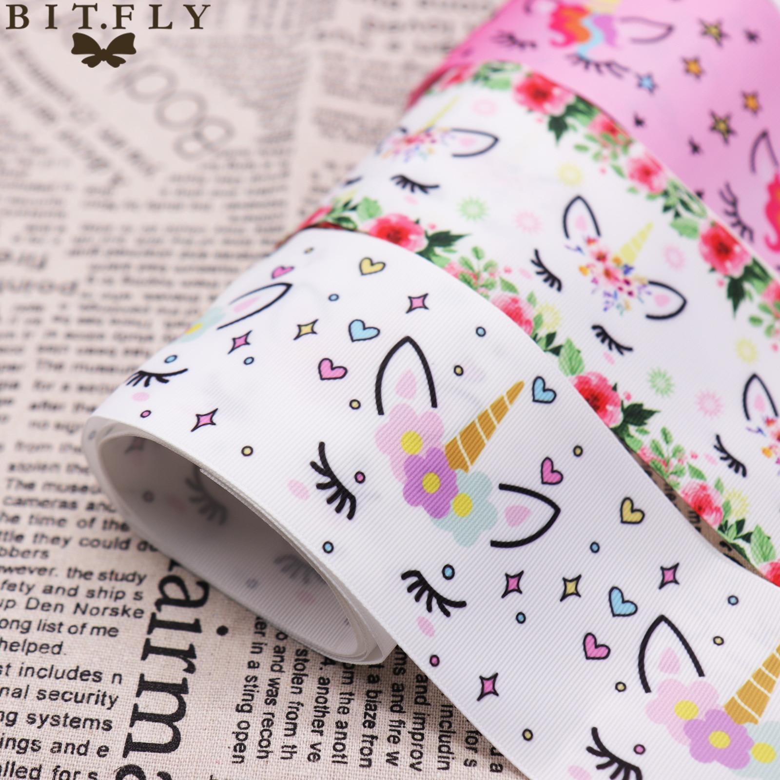 BIT.FLY 7.5cmx1Yard Cute Unicorn Printed Grosgrain Ribbon Wedding Unicorn Party Gift Wrapping Handmade  DIY Hair Accessories