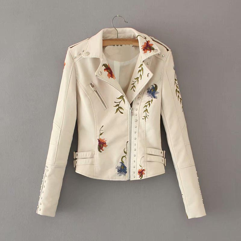 Women Floral Print Embroidery Faux Soft   Leather   Jacket Coat Autumn Casual Pu Motorcycle Black Punk Jacket Outerwear