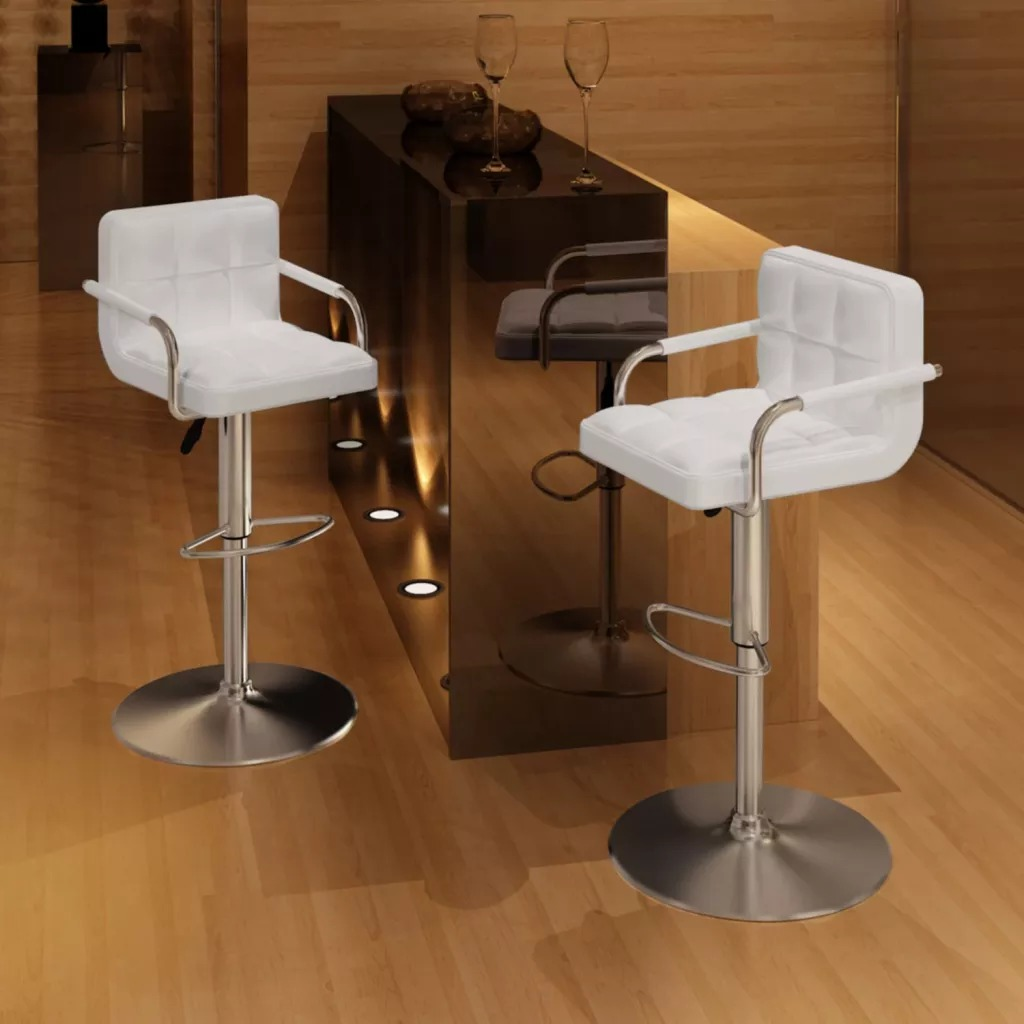 VidaXL Two Exclusive White Bar Stools 2 Pcs Bar Chair Rotating Lift Chair High Stools Creative Beauty Stool Swivel Chair
