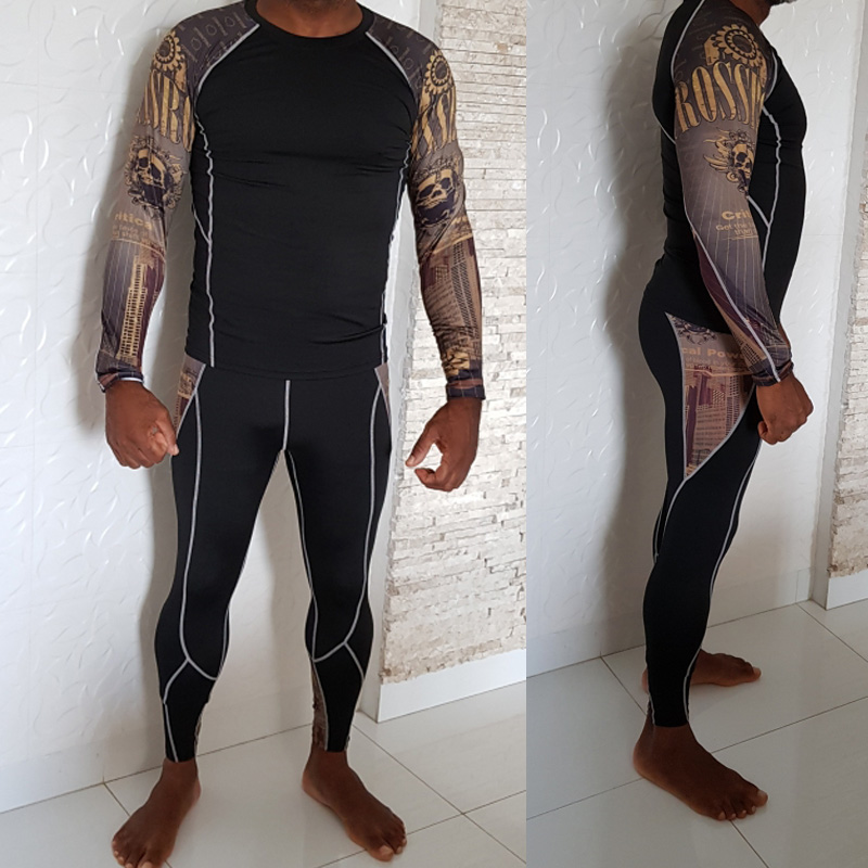 2019 New Men's Thermal Underwear Set Ski Speed Dry Warm Underwear Compression Tights Base Layer Fleece Winter Thermal Underwear