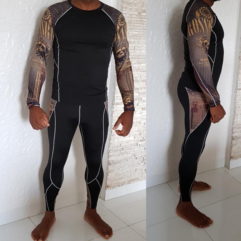 2019 New Men's Thermal Underwear Set Ski Speed Dry Warm Underwear Compression Tights Base Layer Fleece Winter Thermal Underwear