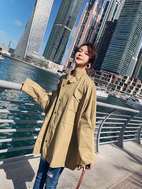 Coreano Mulheres Blusão Casaco Casaco Curto Trincheira 2019 Primavera Vogue Cordão Cor Sólida capa de Chuva das Mulheres Harajuku Roupas