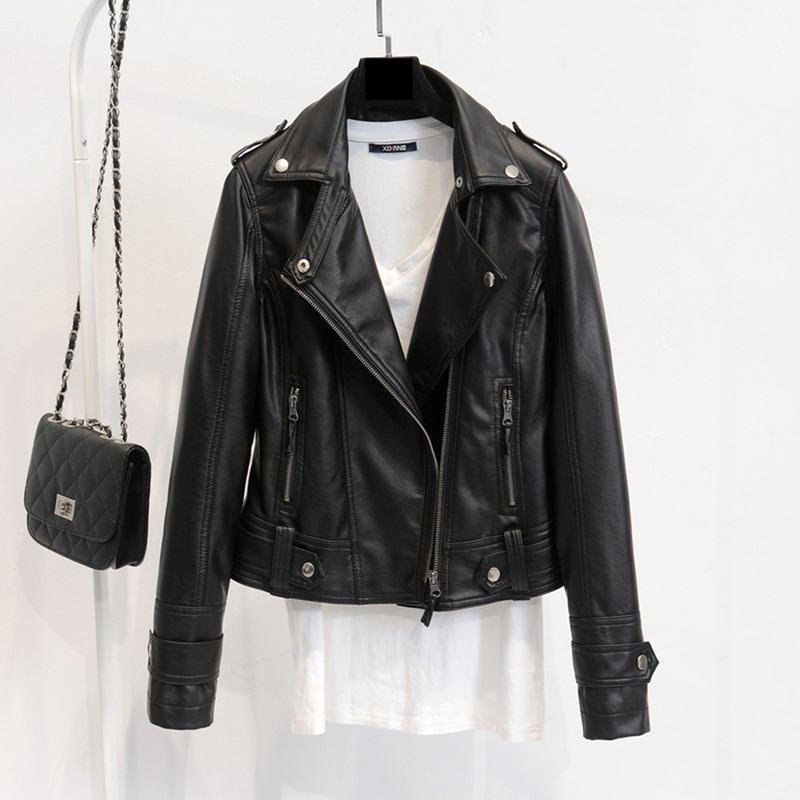 Winter New Luxury Women Clothing PU Washed Faux   Leather   Motorcycle Jacket Slim Female Short Paragraph   Leather   Basic Jackets