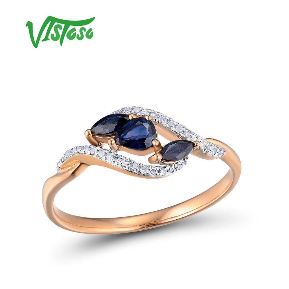 VISTOSO Gold Rings For Women Genuine 14K 585 Rose Gold Ring Sparkling Diamond Blue Sapphire Engagement Anniversary Fine Jewelry