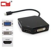 10pcs/lot Cablecc Mini Displayport DP to DVI VGA HDMI Adapter Cable Converter Cord 3 in1 for Apple Mac Book Air Pro iMac Black