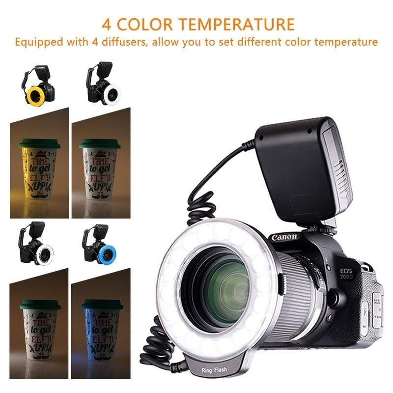 JINTU RF-600D Macro LED Ring Flash Light For Nikon D3300 D3400 D5500 D5600 D7500 D800 D700 D600 D610 D500 D300 W/49mm-77mm ringJINTU RF-600D Macro LED Ring Flash Light For Nikon D3300 D3400 D5500 D5600 D7500 D800 D700 D600 D610 D500 D300 W/49mm-77mm ring