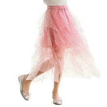 8ccfb30cf Moda de verano brillo irregular de Magdalena Falda larga edad 4-16 años  adolescente chica a la ropa de la escuela. estrella vint.