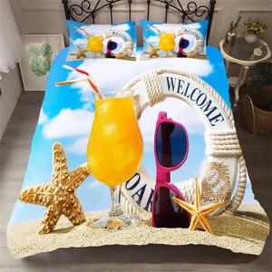Image 1 - מצעי סט 3D מודפס שמיכה כיסוי מיטת סט חוף כוכב ים טקסטיל מבוגרים כמו בחיים מצעי עם ציפית # HL09