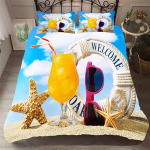Image 1 - Bedding Set 3D Printed Duvet Cover Bed Set Beach Starfish Home Textiles for Adults Lifelike Bedclothes with Pillowcase #HL09