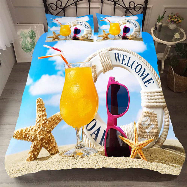 Bedding Set 3D Printed Duvet Cover Bed Set Beach Starfish Home Textiles for Adults Lifelike Bedclothes with Pillowcase #HL09