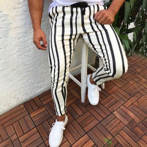 Men Casual Sport Pants Slim Fit Trousers Running  Stripe Sweatpants Men's Black Fashion Elastic Waist Pants Hip Hop Pants Homme