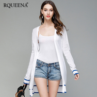 Rqueena Korean Style Women's Cardigans White Female Knitted Cardigan Sweater Long Sleeve Knitwear Cardigan For Women CA003
