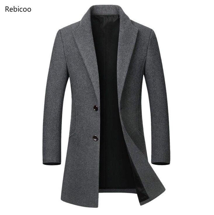 Autumn Winter Wool Jacket Men's High-quality Wool Coat casual Slim collar wool coat Men's long cotton collar trench coat