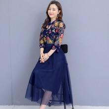 2019 spring new print women dress fake two-piece lace stitching long female plus size 3xl