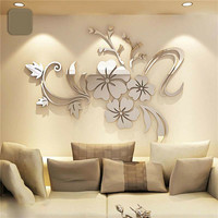 Removable 3D Mirror Effect DIY Vinyl Flower Decal Art Wall Sticker Acrylic Mural Decal Mural Home Room Decor Modern  Decoration