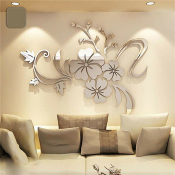 Removable 3D Mirror Effect DIY Vinyl Flower Decal Art Wall Sticker Acrylic Mural Decal Mural Home Room Decor Modern  Decoration 1