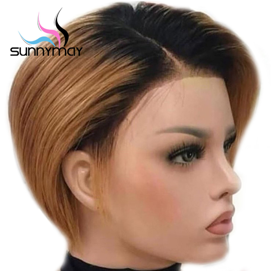 Sunnymay 13x4 Lace Front Wigs Pre Plucked Remy Straight Lace Front Human Hair Wigs With Baby Hair 1b/Brown Ombre Human Hair Wigs