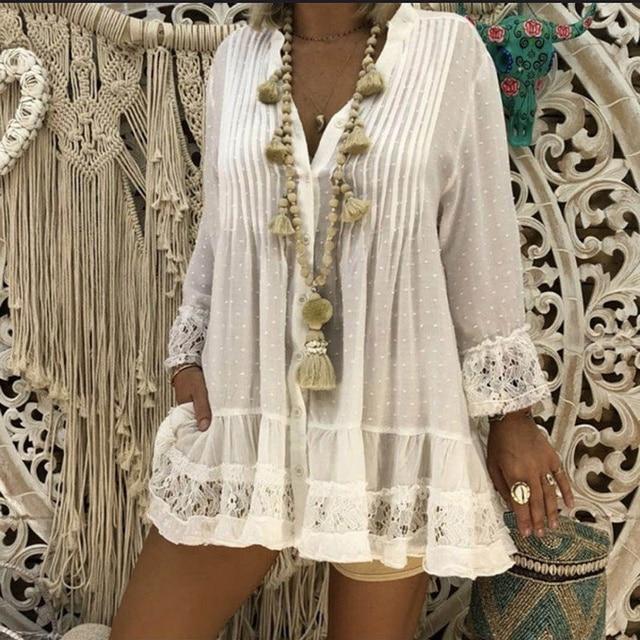 V Neck Loose Shirt  Lace Blouses Summer Clothing