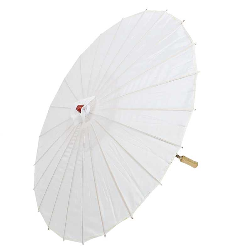 Japanese Asian Traditional Bamboo Dancing Umbrella Parasol 78cm White