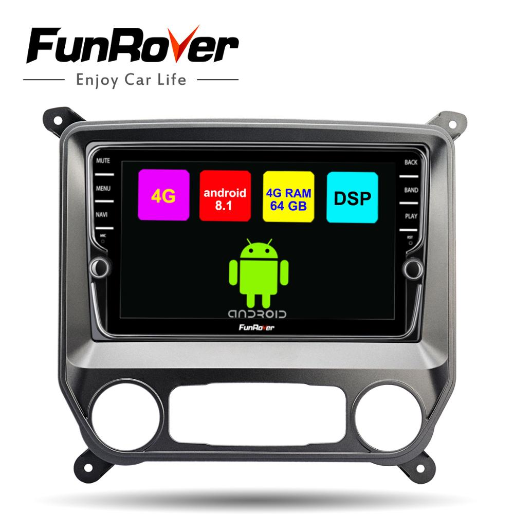Funrover Octa 8 core android 8.1 car dvd gps player For Chevrolet Silverado 2014-2019 radio navigation video DSP 4G RAM 64G ROM