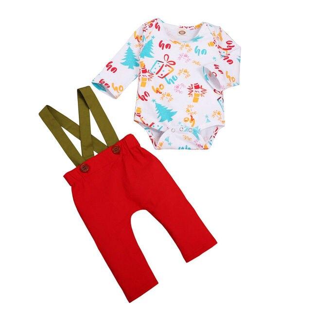 ddd319501d3 2PCS Newborn Baby Boy Girl Cartoon Xmas Bodysuit Jumpsuit Tops + Lovely Bib Pants  Outfits Clothes