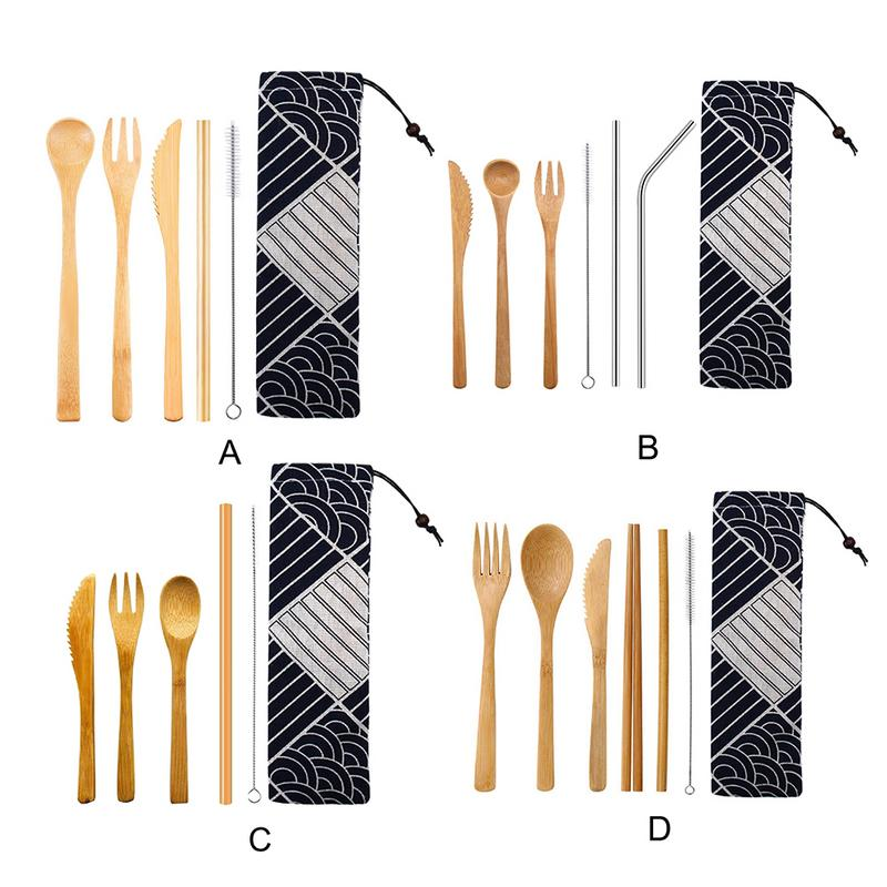 6Pcs/set Japanese Dinnerware Set Cutlery Set Bamboo Fork Knife Straw With Cloth Bag Kitchen Tools Picnic Travel Camping Outdoor
