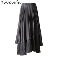 TVVOVVIN 2019 Spring Korean Skirt For Women High Waist Asymmetrical Midi Elastic Pleated Skirts Female Casual Tide R137