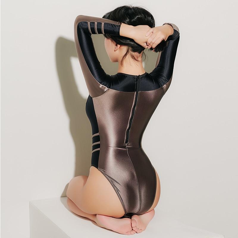 Top SaleLEOHEX Women Swimwear Suit Monokini Long-Sleeve One-Piece Japanese High-Cut Bathing Female