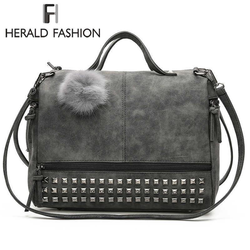 b95ba00fde6 Herald Fashion Rivet Women Tote Bag Leather Female Handbags With Hair Ball  Capacity Lady s Shoulder Bag