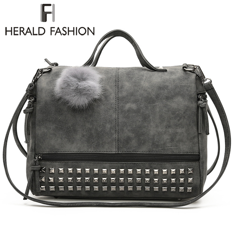Herald Fashion Rivet Women Tote Bag Leather Female Handbags With Hair Ball Capacity Lady's Shoulder Bag Vintage Motorcycle Bag