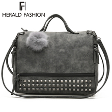 Herald Fashion Rivet Women Tote Bag Leather Female Handbags With Hair Ball Capacity Ladys Shoulder Vintage Motorcycle