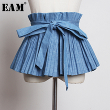 [EAM] 2019 New Spring Summer Pleated Split Joint Temperament Bandage Bow Personality Wide Belt Women Fashion All-match JQ988