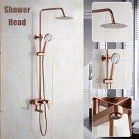 Copper Vintage Bathroom Shower Head Set Wall mounted 3 Ways Rain Shower Rainfall Large Panel Round Rain Head Water Saving Device