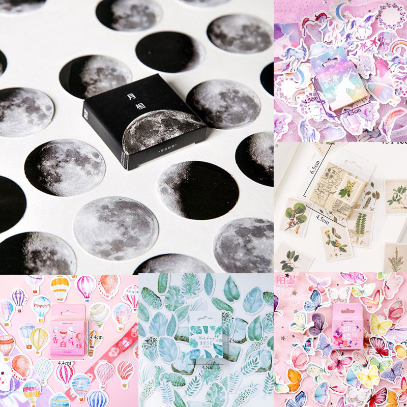 45pcs/box Stationery <font><b>Stickers</b></font> Vaporwave DIY Planet Sticky Paper Kawaii Moon Plants <font><b>Stickers</b></font> For Decoration Diary Scrapbooking image