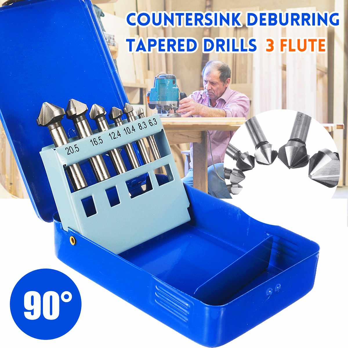 6Pcs 90° High Speed Steel Countersink Deburring Tapered Drills 3 Flute Taper Power Drills Hand Tool Bits