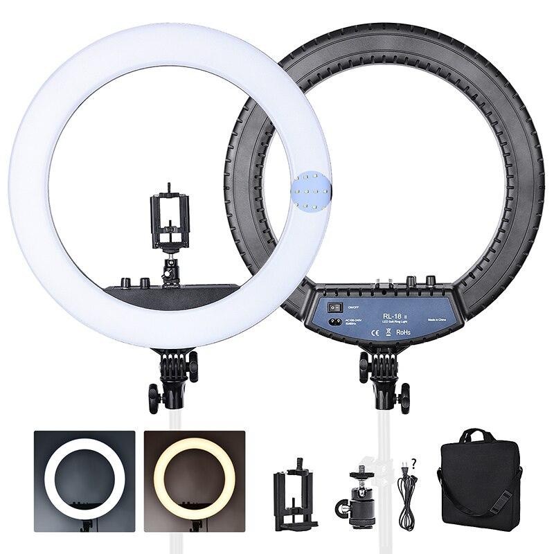 Fosoto RL-18II anel lâmpada 3200-5600 k 55 w 512 leds pode ser escurecido fotografia luz maquiagem led anel luz para câmera photo studio telefone