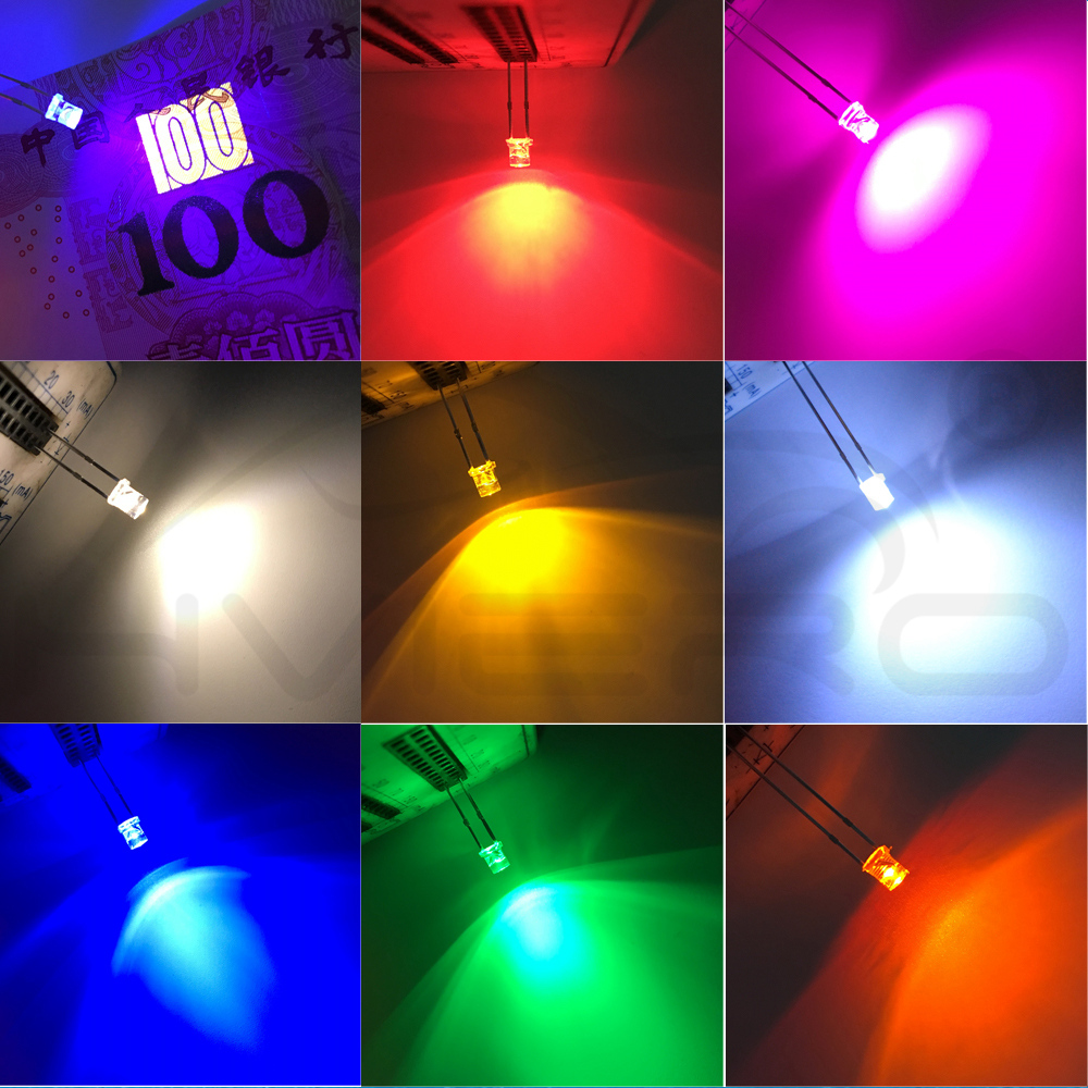 500pcs 3mm Transparent Yellow Led Diode Flat Top Water Clear 3 Mm Led Light Emitting Diode Lamp Wide Angle Ultra Bright Bulb Buy Now Electronic Components & Supplies Active Components