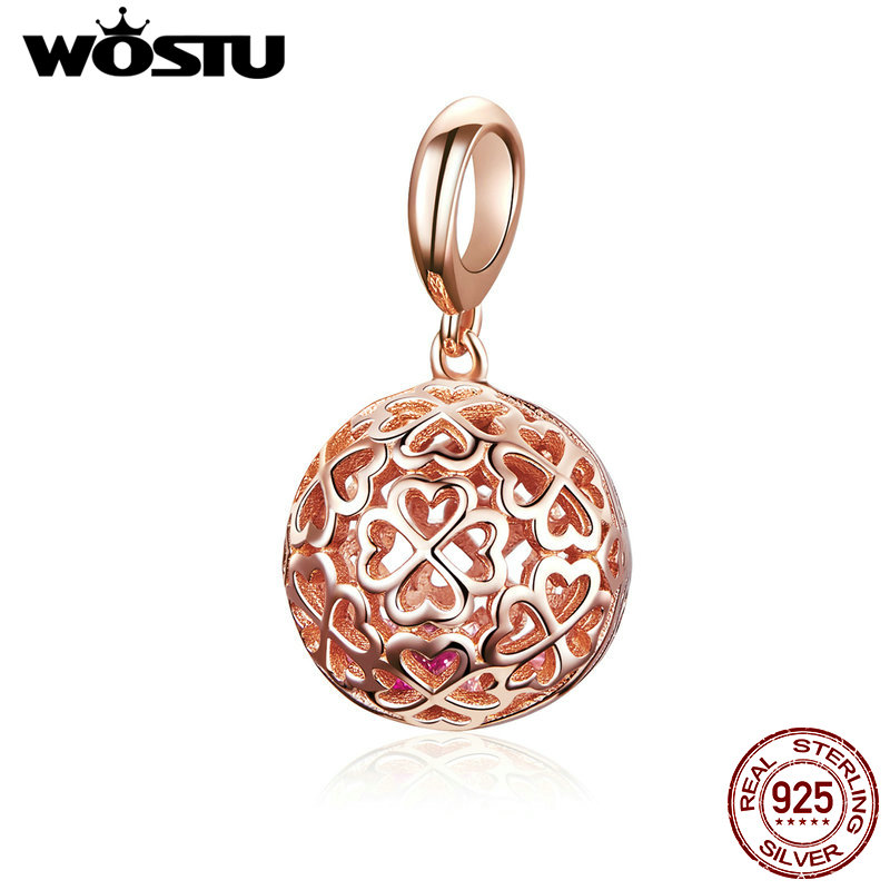WOSTU 925 Sterling Silver Hollow Rose Gold Charms Round Bead Fit Original Bracelet Pendant For Women Silver 925 Jewelry CQC1127WOSTU 925 Sterling Silver Hollow Rose Gold Charms Round Bead Fit Original Bracelet Pendant For Women Silver 925 Jewelry CQC1127