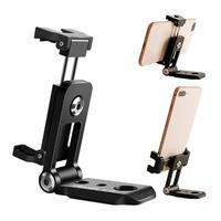 Foldable Phone Tripod Mount Clipper w Cold Shoe Vertical Horizontal Video Shoot Tripod Clamp Holder for iphone Phone Holder