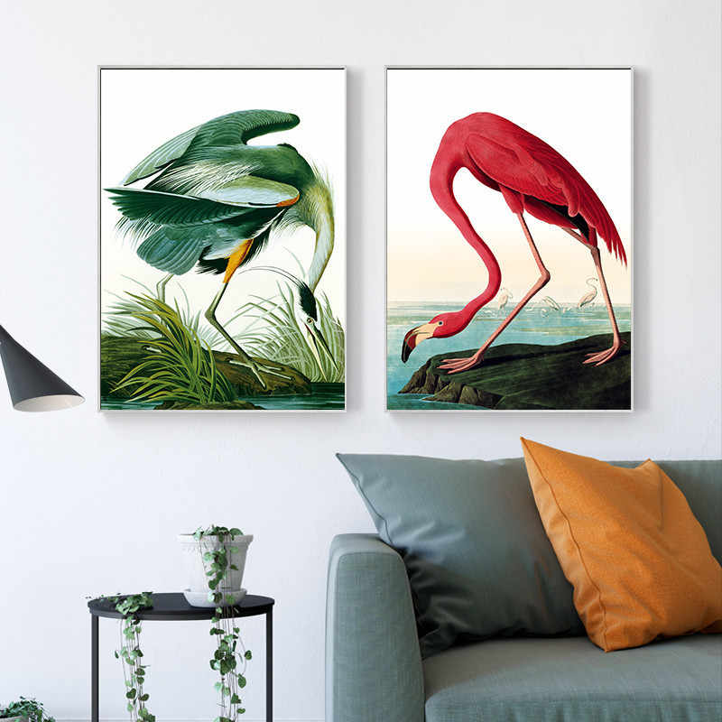 Red and Green Flamingo Animal Print Art Canvas Framed Wall Pictures for Living Room Canvas Painting Kitchen Back To The Future