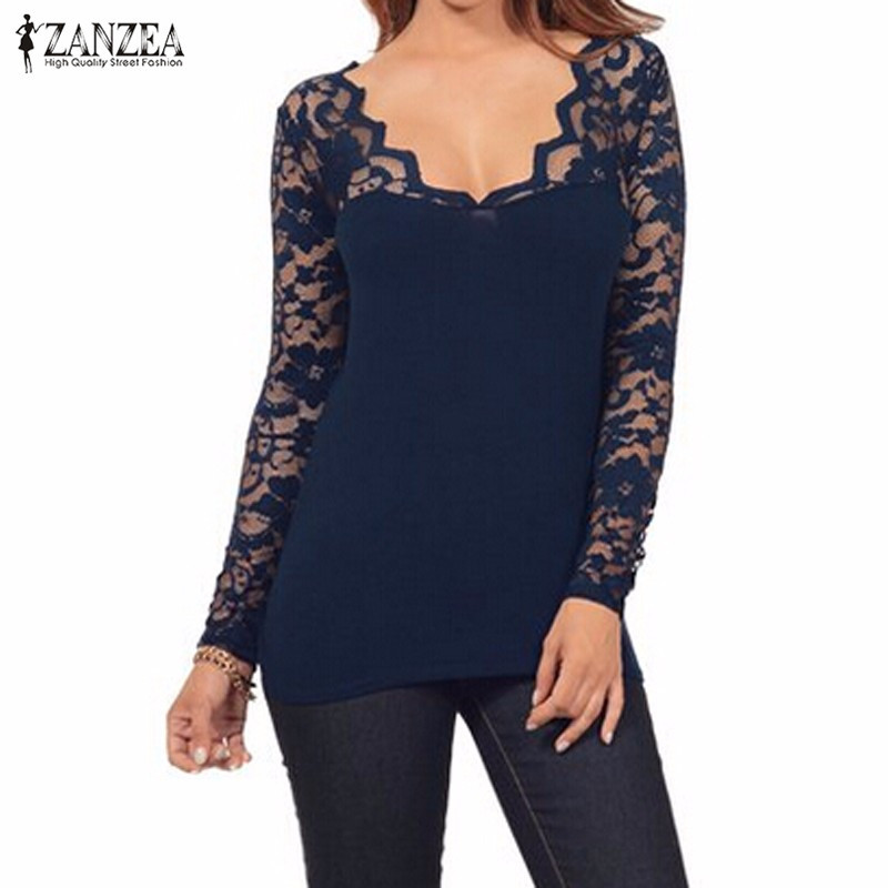 ZANZEA 2019 Autumn Women Lace Crochet Shirts Stretch Sexy V Neck Blouses Long Sleeve Top Casual Blusas Femininos Plus Size S-5XL