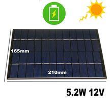 CALTIE Panel Solar policristalino de 12V, 5,2 W, 165x210mm, tablero epoxi DIY, células policristalinas epoxi para teléfono móvil