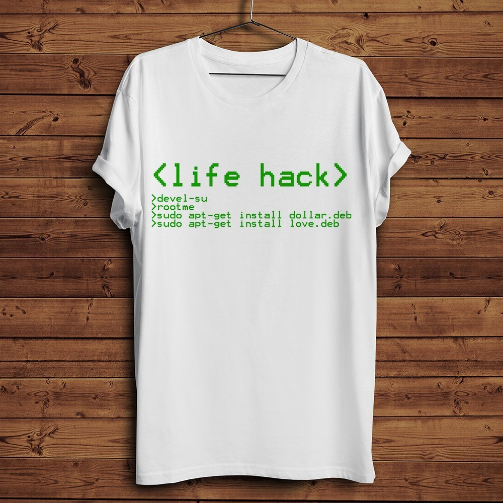 life hack operating system Programming code cool T-shirt men summer 2019 new short sleeve white funny Programmer geek t shirt image
