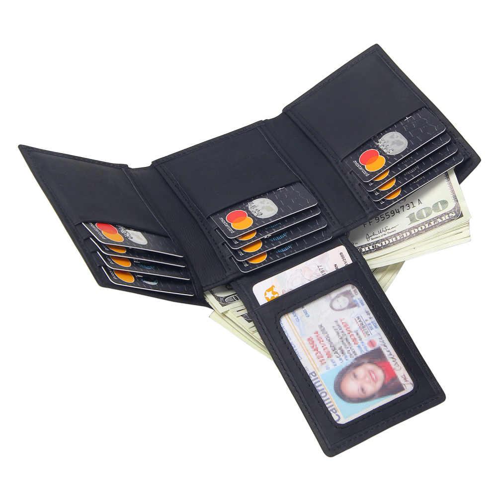 Couro rfid bloqueando carteira men trifold 14 slots de cartão de identificação de negócios titular de cartão de couro genuíno masculino bolsa de dinheiro sacos masculino
