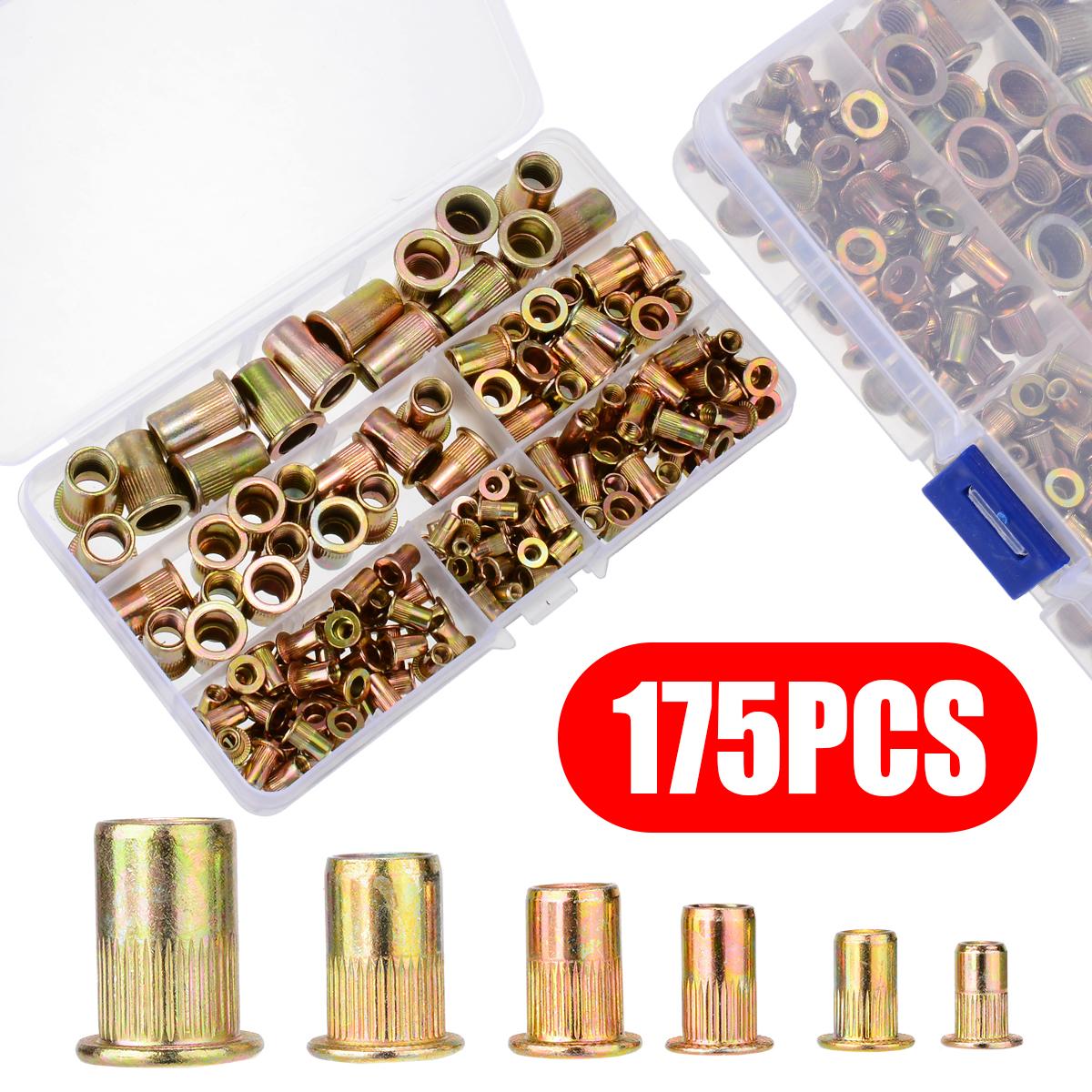 175pcs/kit Rivet Nut Kit Mixed Zinc Carbon Steel Rivnut Insert Nutsert Threaded M3 M4 M5 M6 M8 M10 Nutsert Cap