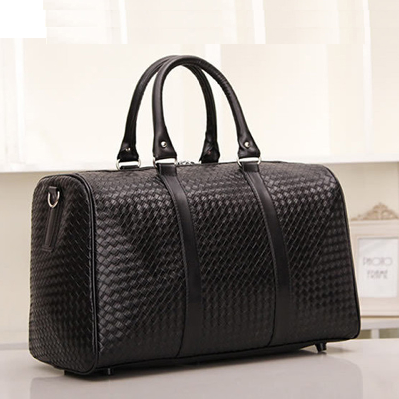 Us 26 99 30 Off New Fashion Pu Faux Leather Knitted Men Travel Bag Luggage Carry On Duffle Weekend Shoulder Tote Handbag Large In