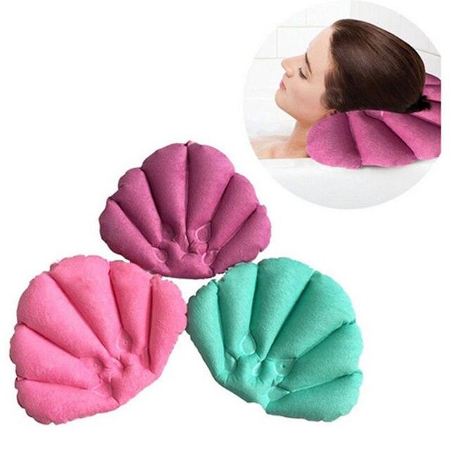 Miękka łazienka poduszka Home wygodne Spa nadmuchiwane kubki w kształcie muszli szyi poduszka wanna akcesoria łazienkowe