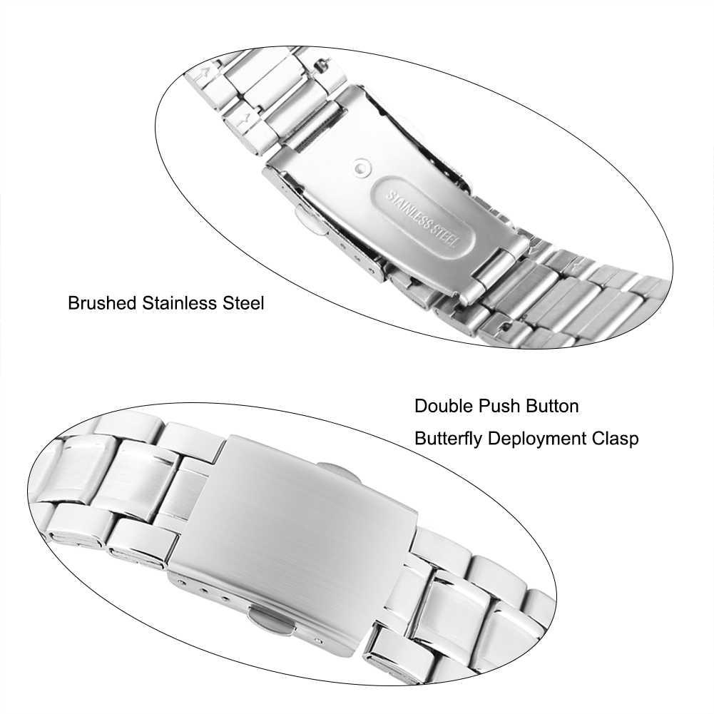 22 мм Серебряный ремешок из нержавеющей стали для мужчин безопасности складной Пряжка ремешок для дам 17 см длинный Браслет ремешок для девочек